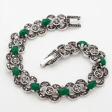 Cute Gift Green Oval Gems Cubic Zircon Silver Plated 19 cm Lady Girl Bracelet