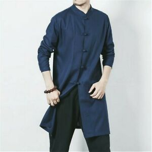 Hommes Kung Fu Veste Chinois Tang Costume Chemise Col Mao Rétro Art Martial