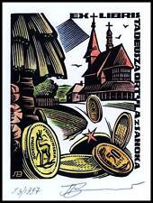 Leonenko Vasyl 1997 Exlibris X3 Numismatics Coins Munzen Architecture Sanok 844x