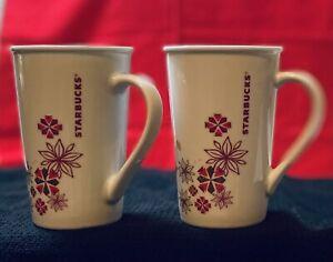 Starbucks Christmas Latte Tall Coffee Mugs Poinsettia & Snowflakes red/tan/gold