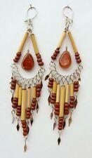 Ohrringe Glasperle Bambusstäbchen Neru aus Peru Ohrhänger Ohrschmuck Hippie Boho