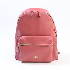 NWT COACH Charlie Backpack Cute Leather School Coral Pink Rouge Gold F29004