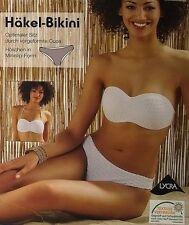 Damen Häkel-Bikini Set/Badeanzug Oberteil + Slip Set Netz-Look Neongelb Weiß XS