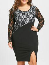 Lady Plus Size Lace Trim Bodycon Dress Scoop Neck Floral Long Sleeve Dress