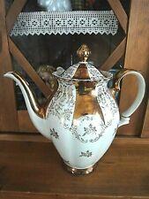 Antike Kaffeekanne Bareuther Bavaria-Porzellan, Blumen - gold - weiß