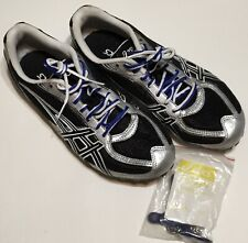 Asics G901N Hyper MD Track Shoes 5 Spikes Black Silver Blue Size 6.5