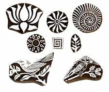Mughal Design Wooden Blocks Hand-Carved for Saree Border Making Set of 8