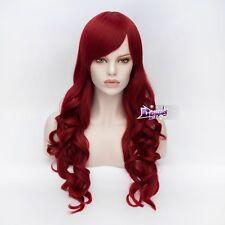 Stylish 70CM Weinrot Cosplay Curly Perücke Gelockte wig Lolita Haare Halloween