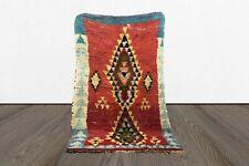 azilal Moroccan vintage 5x8 area rug, tribal Handmade wool worn berber woven rug