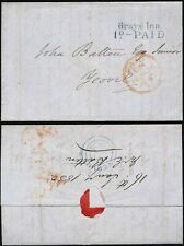 GB 1850 LONDON RECEIVING HOUSE GRAYS INN 1d PAID in BLUE to YEOVIL