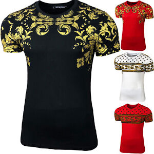 Herren Used Look Rundhals T-Shirt Kurzarm Hemd Slim Fit Design Fashion 2003-11
