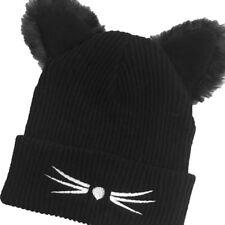 Women Fashion Devil Horns Cat Ear Cap Warm Beanie Crochet Knit Wool Ski Hats Black