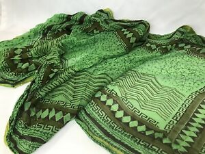 Vtg Wrap Scarf Shawl Pashmina Cover-up African Indian Lime Green Yellow Brown