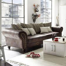 Big Sofa Corin Couch Sofagarnitur antik dunkel braun inkl. Kissen beige 253 cm