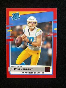 JUSTIN HERBERT 2020 Panini DONRUSS RED Press Proof RED Rc ROOKIE #303