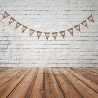 Fanions Guirlande Bannière Blanc Coeur en Tissu Toile de Jute pr Mariage 3yd