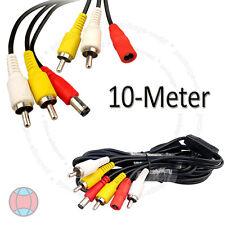 New CCTV 10 Meter RCA Power Audio Video AV DVR System Camera Black Cable