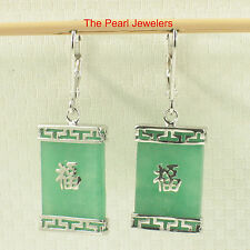 Solid Silver 925 Good Fortune Rectangle Green Jade Leverback Dangle Earrings TPJ