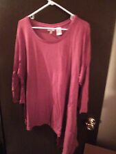 NIP - Logo by Lori Goldstein - 3X - Knit Top With WOven Side Godet - Redwood