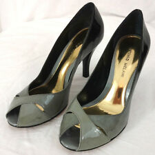 Antonio Melani Heels Shoes Womens Leather Size 8.5 Gray Black Open Toe