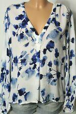 H&M Bluse Gr. 40 weiß mit blauen Blumen Crincle Langarm Bluse/Tunika