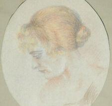 Portrait Femme Au Chinion Drawing Original IN Pastel Art Deco Signed Valette