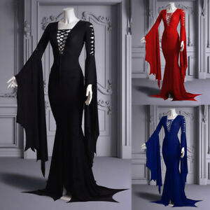 Medieval Renaissance Gothic Women Lace Up Long Dress Addams Halloween Cosplay