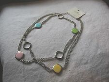 Long Necklace Chain Pastel Enamel lead free New Fashion Jewelry Silver Finish