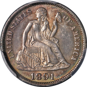 1891-P Seated Liberty Dime PCGS MS64 Superb Eye Appeal Strong Strike