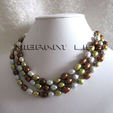 """50"""" 6-8mm Gray Coffee Olive Rice Freshwater Pearl Necklace Jewelry U"""