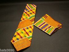 neck  tie set kente cloth pattern cotton blue, maroon white orange green, new.