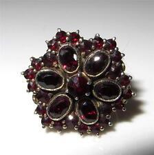 c1915-1920 Bohemian Garnet Ring 900 Silver Size 6.25 Rose & Oval Cut