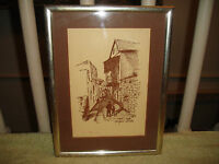 Vintage Safad Israel Old City Drawing Or Print-Signed-1923?-Framed-Jewish Art