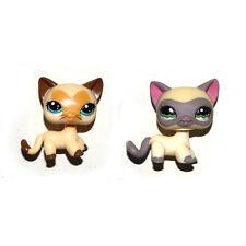 Littlest Pet Shop Cream Yellow & Cream Gray Short Hair Cat Kitty Figure Toy