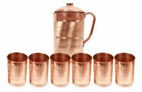 Natural Ayurveda Good Health Water Jug Copper Handmade Pitcher 6 Tumbler Ethnic