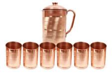 Natural Ayurveda Good Health Water Jug Copper Handmade Pitcher 6 Tumbler Ethnic