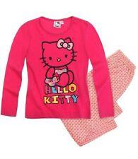 Vêtements ensemble pyjama rose à manches longues pour fille de 2 à 16 ans