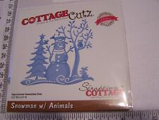 COTTAGE CUTZ DIE SNOWMAN w/ ANIMALS SNOWY TREES  SILHOUETTE CHRISTMAS WINTER