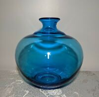 Turquoise Blue Hand Blown Art Glass Vase - Polished Pontil - Mid Century Decor