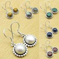 Many Colors ! 925 Silver Plated FRESH PEARL & Other Gemstone FASHION Earrings