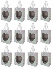 Silver Prism Heart Small Gift Bags (Set of 12) Cute Valentines Day, Wedding, NEW