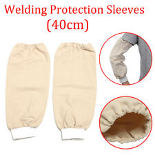 1 Pair Flame Retardant Welding Arm Leather Sleeves Protection Elastic Wrist 40cm