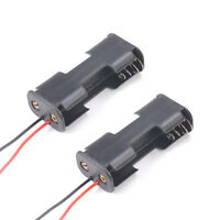 2pcs Black Plastic Battery Holder Case w Wired for 2 x AA Batteries 1.5V durable