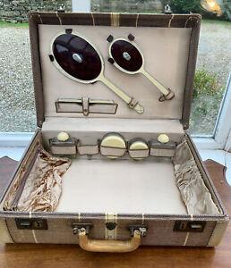 Vintage McBrine Travel Trunk Baggage Leather Trimmed Vanity Case Set