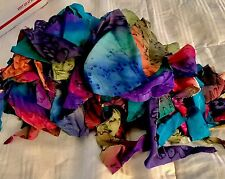 HAND PAINTED silk scraps, for small doll clothes,  crafts,  Free Ship