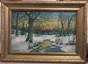 Carl Lotick American Indiana 1878-1958 Landscape Oil On Board Excellent 17 X 12