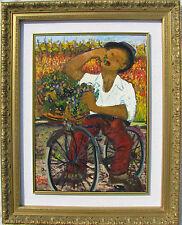 Giuseppe VIOLA (Milano 1933-2010) Contadino con cesto di uva Olio su tela 70x50