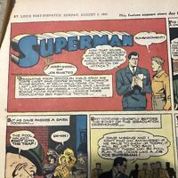 RARE Superman Sunday Color Comics Page #196 by Siegel & Shuster from 8/1/1943