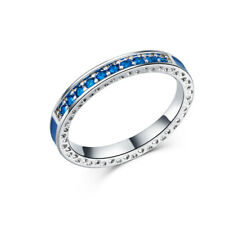 Sapphire Engagement Girls Rings Size 8 Gorgeous 925 Silver Rings Round Cut Blue