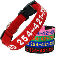 Embroidered Dog Collar Nylon Personalised Pet ID Collar Name Number Adjustable